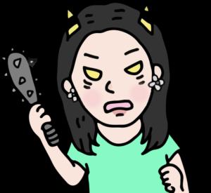 女の子が鬼のように怒っている